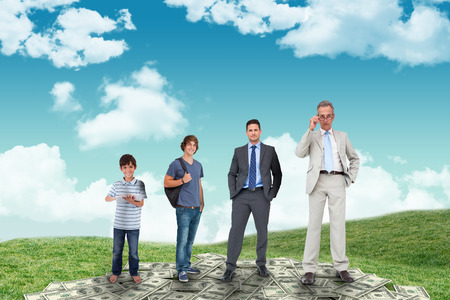 life stages: Life stages of businessman against field and sky Stock Photo