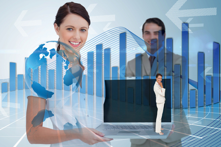 global thinking: Thinking businesswoman against global business graphic in blue Stock Photo