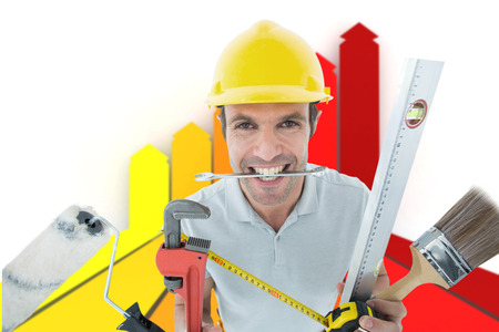 happy worker: Happy worker with various equipment against orange red and yellow arrows Stock Photo