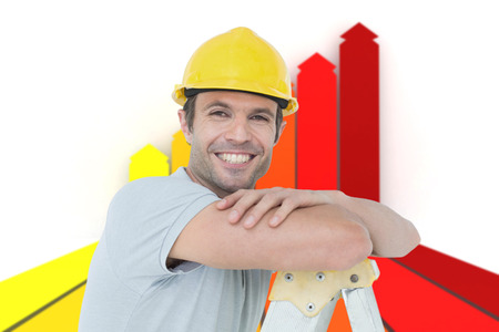 step ladder: Happy technician leaning on step ladder against orange red and yellow arrows