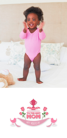 babygro: mothers day greeting against baby girl in pink babygro standing on bed