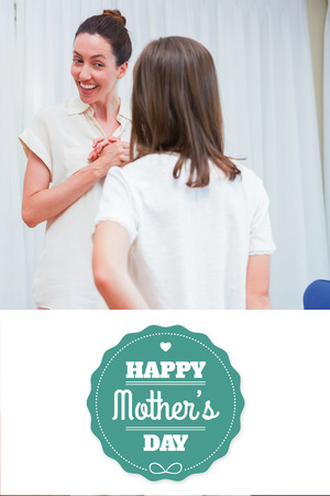gift behind back: mothers day greeting against daughter hiding presenting behind back