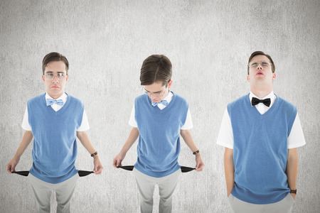 with no money: Nerd with no money against white and grey background Stock Photo