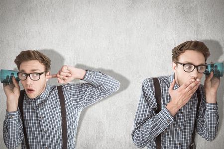 eavesdropping: Nerd eavesdropping against white and grey background