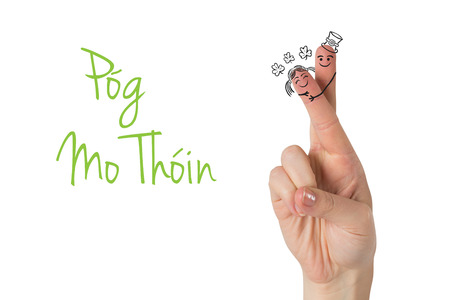 mo: Patricks Day fingers against pog mo thoin Stock Photo