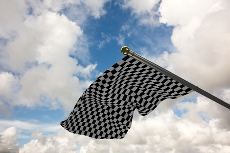 checker flag: Checkered flag against blue sky with white clouds Stock Photo