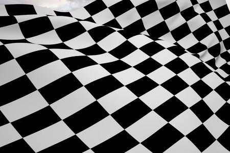 urban sprawl: Checkered flag against stony path leading to large urban sprawl Stock Photo