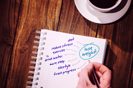 diet plan: Diet plan against desk with coffee and notepad