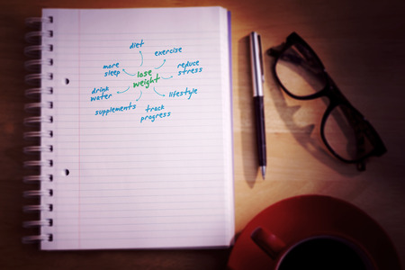 diet plan: Diet plan against overhead of notepad and pen
