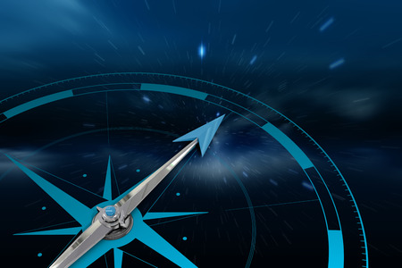 twinkling: Compass against stars twinkling in night sky