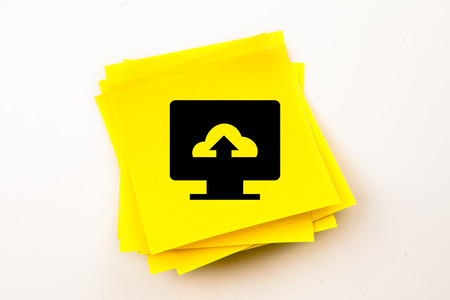 page down: Computer screen against sticky note Stock Photo