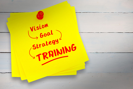 buzz word: Training buzzwords against sticky note with red pushpin Stock Photo