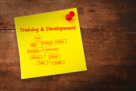 buzz word: Training and development flowchart against yellow pinned adhesive note Stock Photo