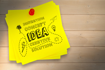 red pushpin: Idea and innovation graphic against sticky note with red pushpin Stock Photo