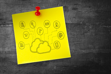 Cloud computing doodle against pinned adhesive note photo