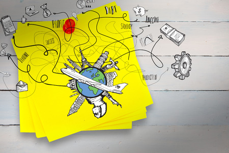 red pushpin: Business and global travel doodles against sticky note with red pushpin