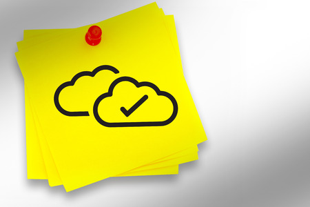 red pushpin: Clouds graphic against sticky note with red pushpin Stock Photo