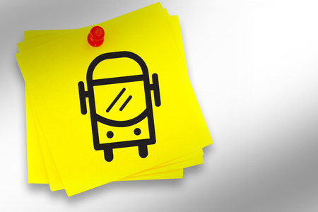 inscribe: Bus graphic against sticky note with red pushpin