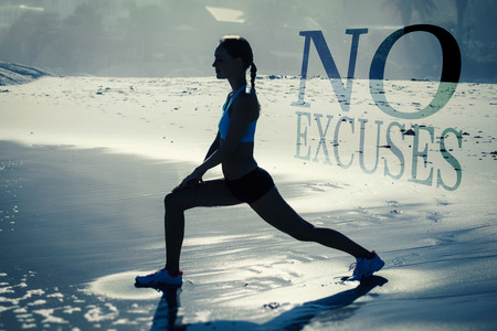 lunges: Fit woman doing lunges on the beach against no excuses