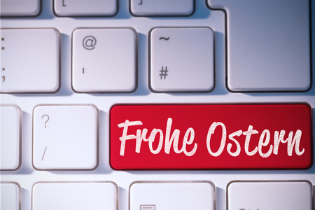 Ostern: frohe ostern against red key on keyboard