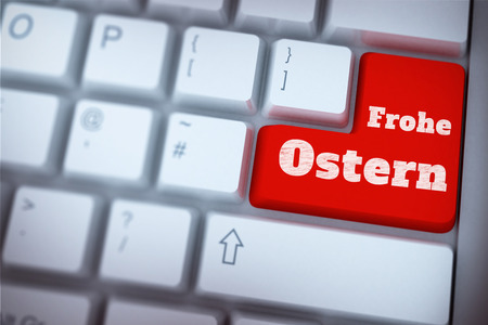 frohe: Red enter key on keyboard against frohe ostern