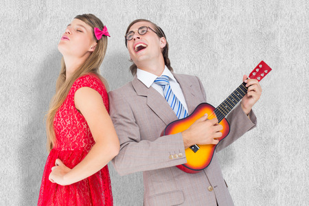 together with long tie: Hipster couple having fun together against white background