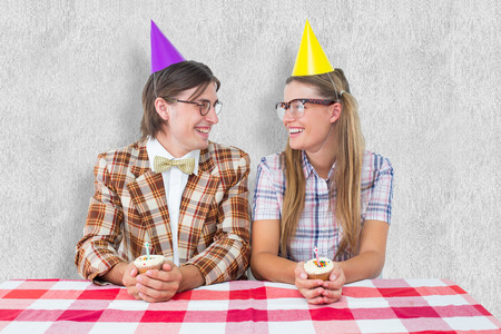 together with long tie: Geeky hipsters celebrating birthday  against white background