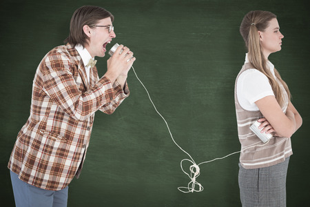 string together: Geeky hipsters using string phone  against green chalkboard