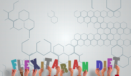 chemical structure: Hands holding up against chemical structure in grey and white Stock Photo