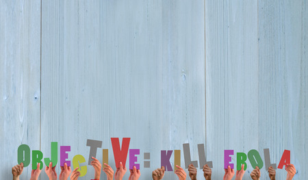 kill: Hands holding up kill ebola  against wooden planks Stock Photo