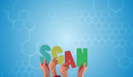 chemical structure: Hands holding up scan against chemical structure in blue and white