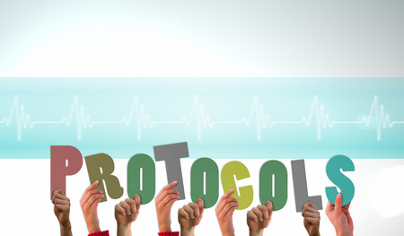 protocols: Hands holding up protocols against ecg line in blue and white