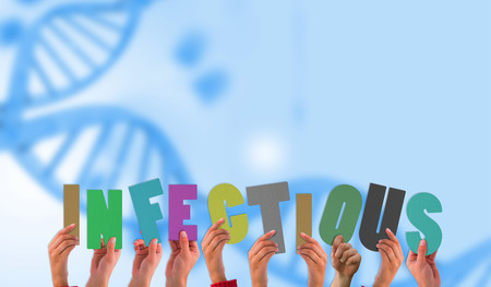 infectious: Hands holding up infectious against medical background with blue dna helix Stock Photo