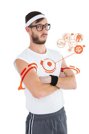 sportswear: Geeky hipster posing in sportswear against fitness interface