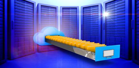 Cloud computing drawer against server room