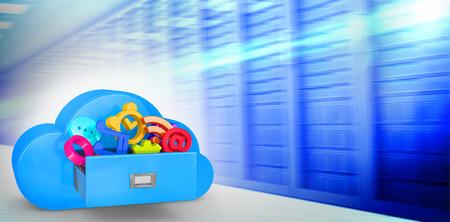 drawer: Cloud computing drawer against server room