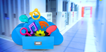 filing system: Cloud computing drawer against data center
