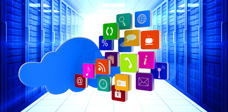 server room: Cloud with apps against digitally generated server room with towers Stock Photo