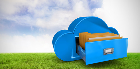 drawer: Cloud computing drawer against green field Stock Photo