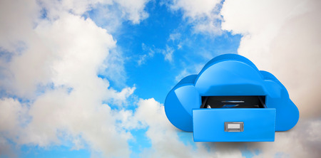 Cloud computing drawer against blue sky with white clouds photo
