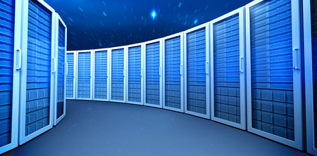 eavesdropper: Server towers against stars twinkling in night sky Stock Photo