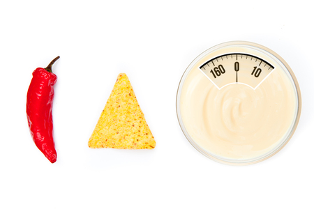 weighing scales: weighing scales against bowl of dip nacho and pepper side by side Stock Photo