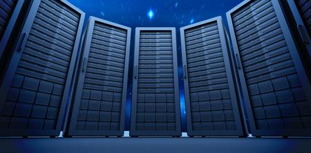 eavesdropper: Server room against stars twinkling in night sky