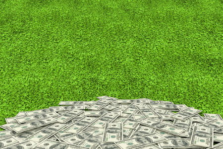turf pile: Pile of dollars against astro turf surface