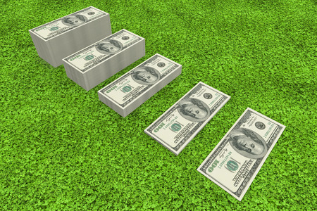 turf pile: Stacks of dollars against astro turf surface