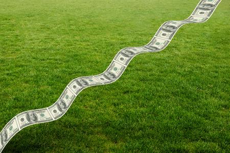bumpy: Bumpy dollar road against green field Stock Photo