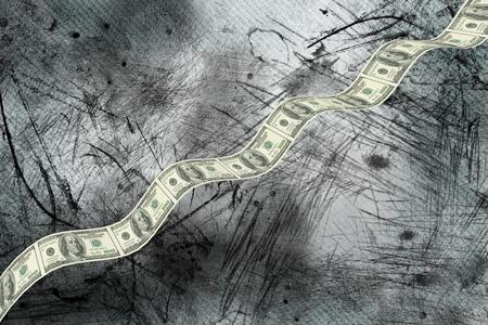 bumpy: Bumpy dollar road against grey background