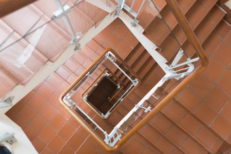 top angle: Top angle view of staircase going down