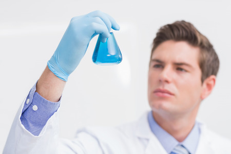 attentively: Scientist looking attentively at the beaker in laboratory