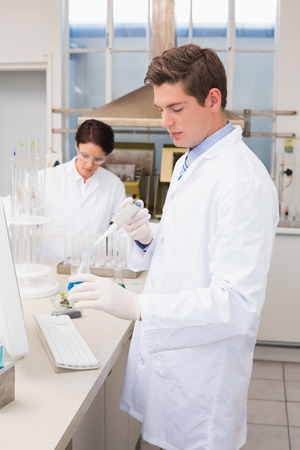 attentively: Scientists working attentively with test tube in laboratory